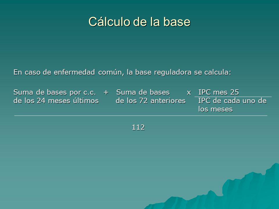 Cálculo de la base En caso de enfermedad común, la base reguladora se calcula: