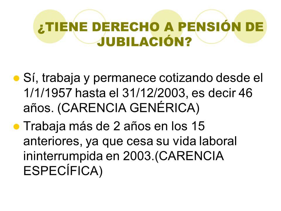 ¿TIENE DERECHO A PENSIÓN DE JUBILACIÓN