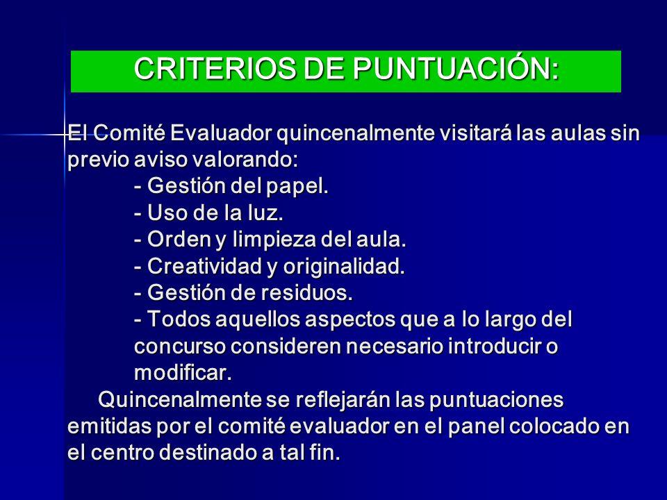 CRITERIOS DE PUNTUACIÓN:
