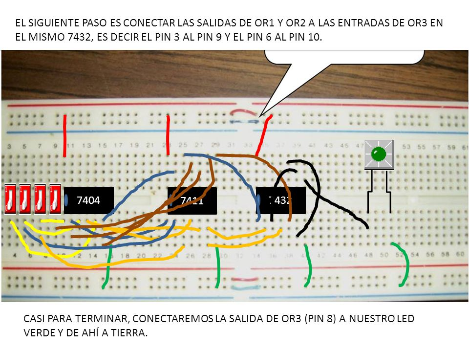 EL SIGUIENTE PASO ES CONECTAR LAS SALIDAS DE OR1 Y OR2 A LAS ENTRADAS DE OR3 EN EL MISMO 7432, ES DECIR EL PIN 3 AL PIN 9 Y EL PIN 6 AL PIN 10.