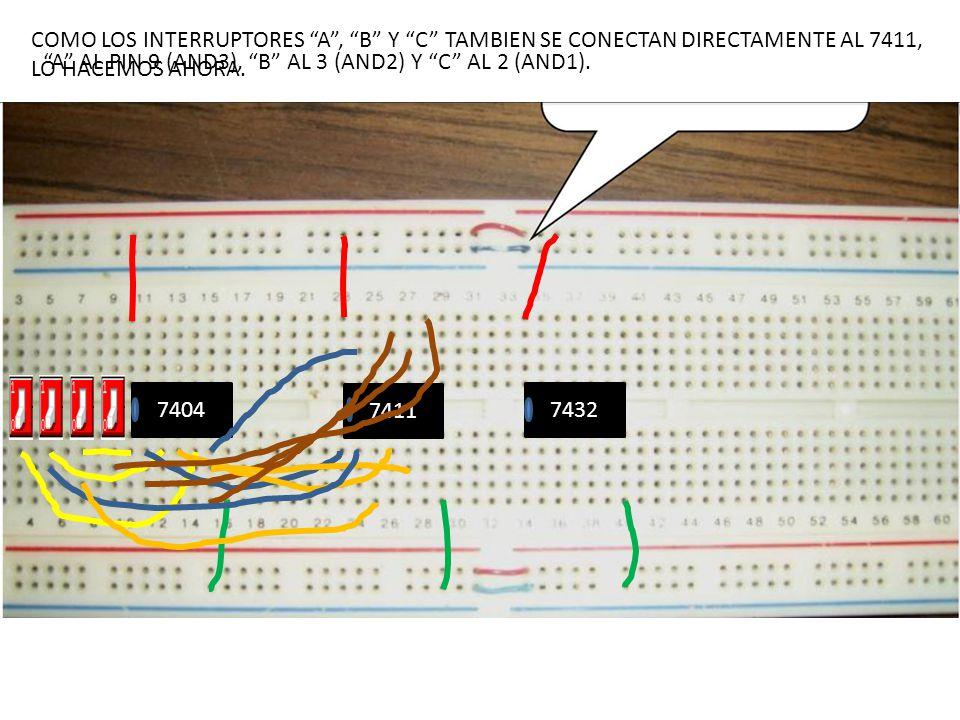COMO LOS INTERRUPTORES A , B Y C TAMBIEN SE CONECTAN DIRECTAMENTE AL 7411, LO HACEMOS AHORA.