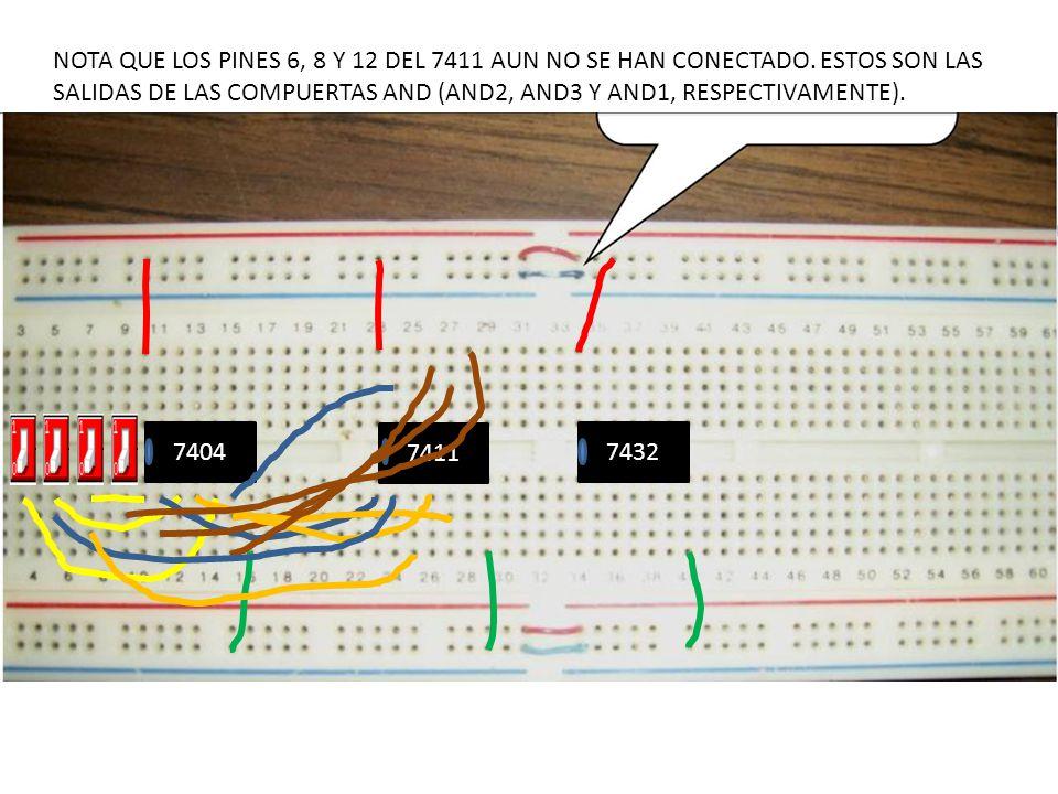 NOTA QUE LOS PINES 6, 8 Y 12 DEL 7411 AUN NO SE HAN CONECTADO