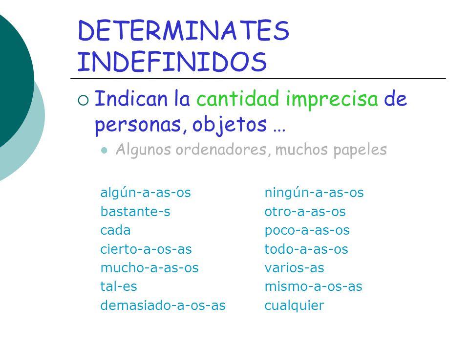 DETERMINATES INDEFINIDOS