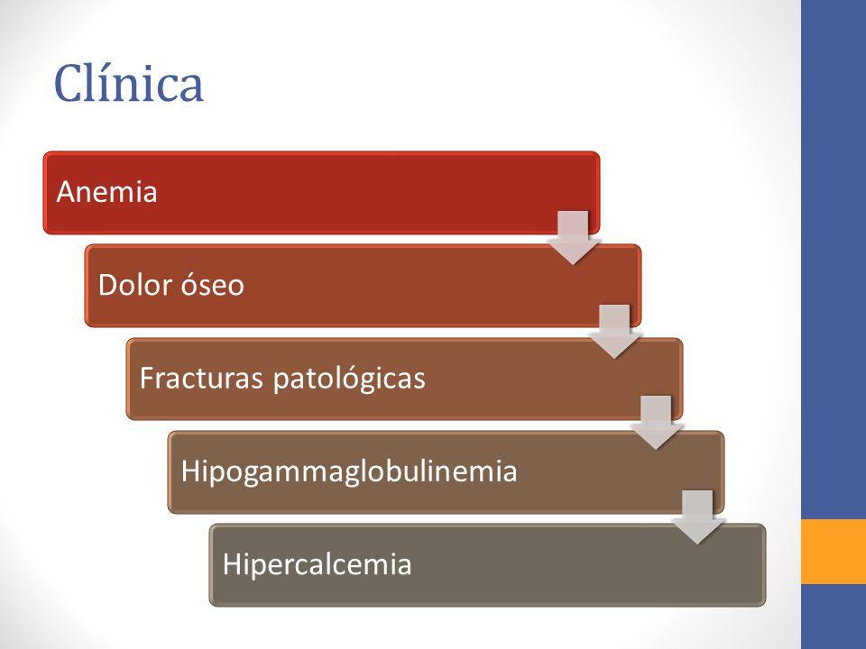 Clínica Anemia Dolor óseo Fracturas patológicas Hipogammaglobulinemia