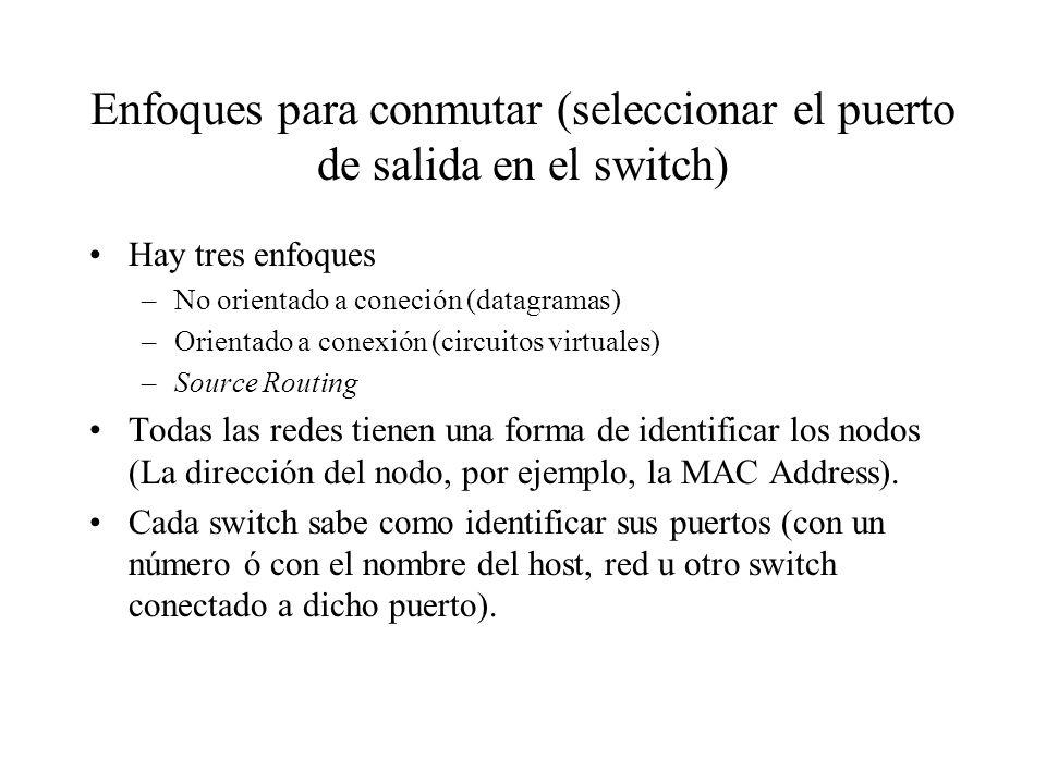Enfoques para conmutar (seleccionar el puerto de salida en el switch)