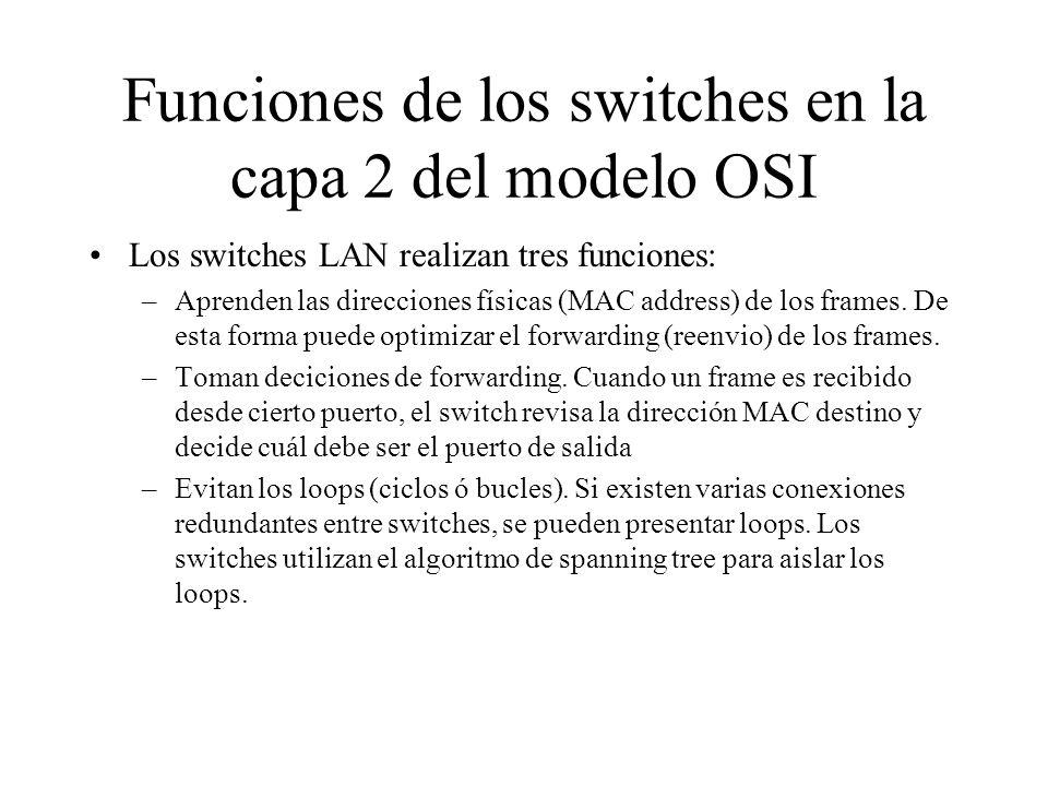 Funciones de los switches en la capa 2 del modelo OSI