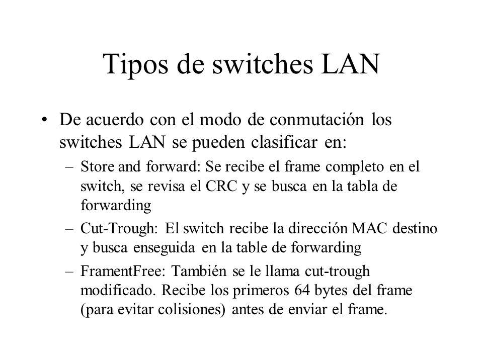 Tipos de switches LAN De acuerdo con el modo de conmutación los switches LAN se pueden clasificar en: