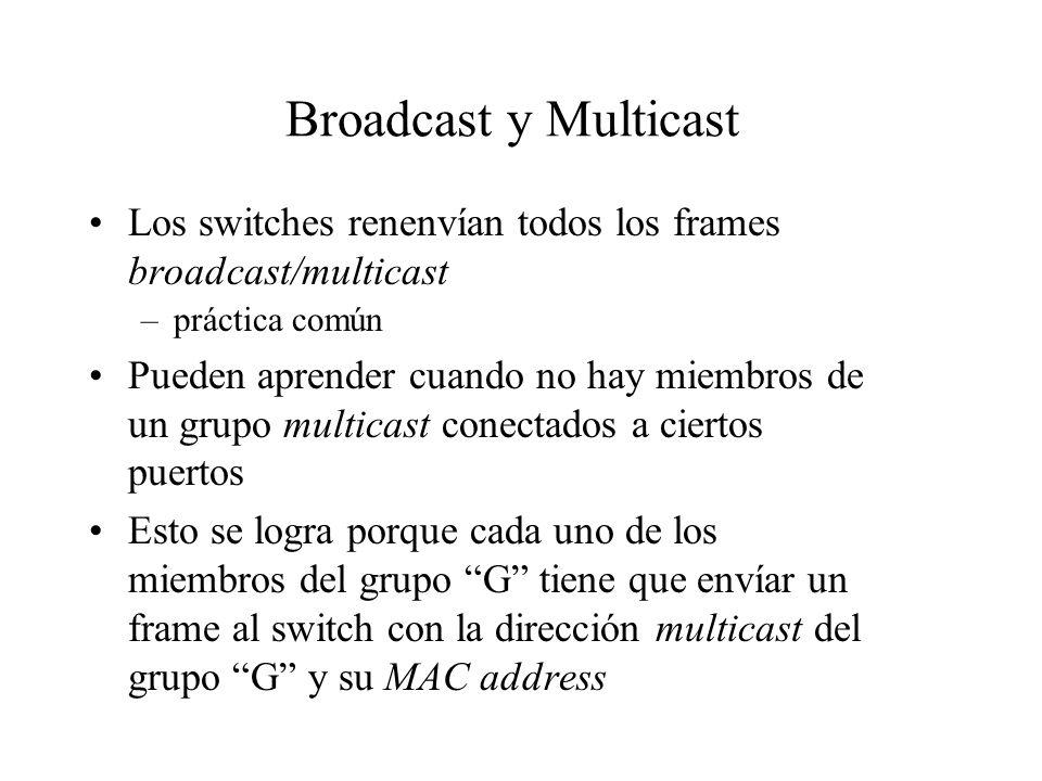 Broadcast y Multicast Los switches renenvían todos los frames broadcast/multicast. práctica común.