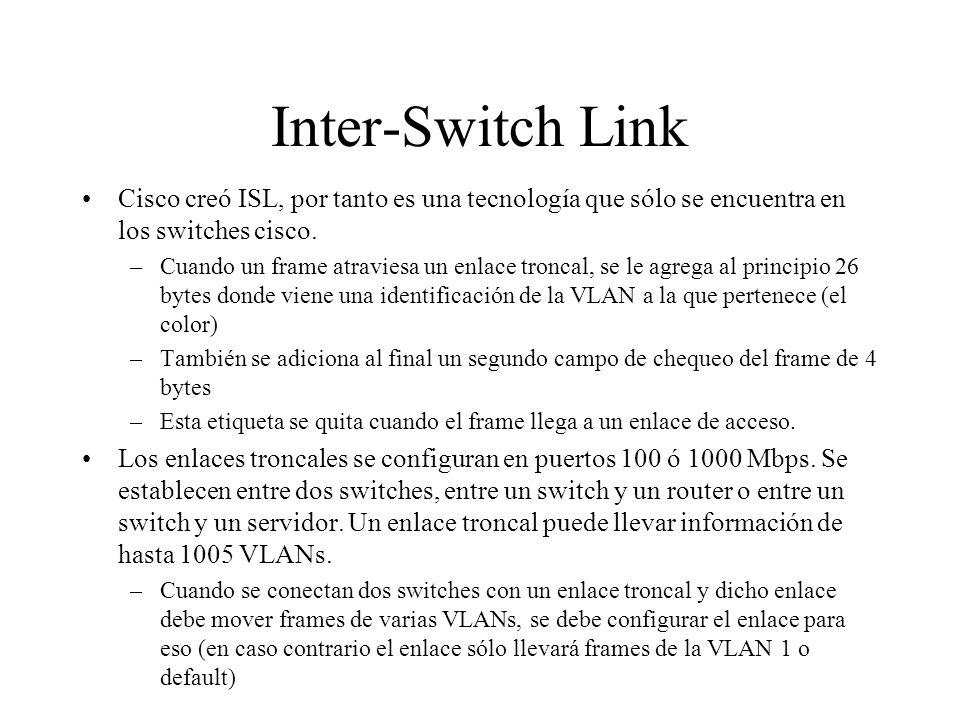 Inter-Switch LinkCisco creó ISL, por tanto es una tecnología que sólo se encuentra en los switches cisco.