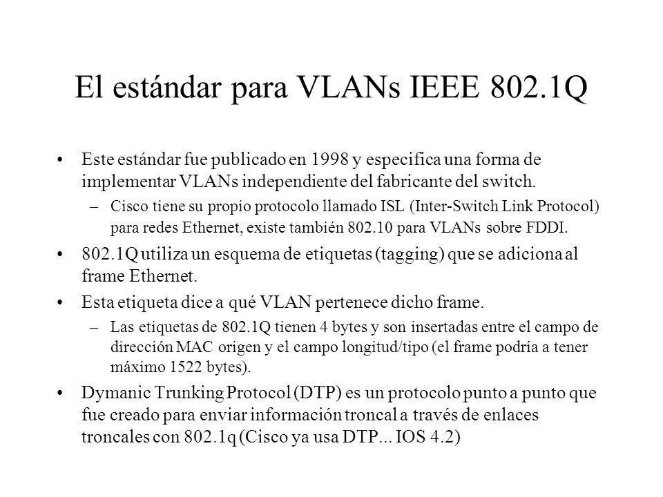 El estándar para VLANs IEEE 802.1Q