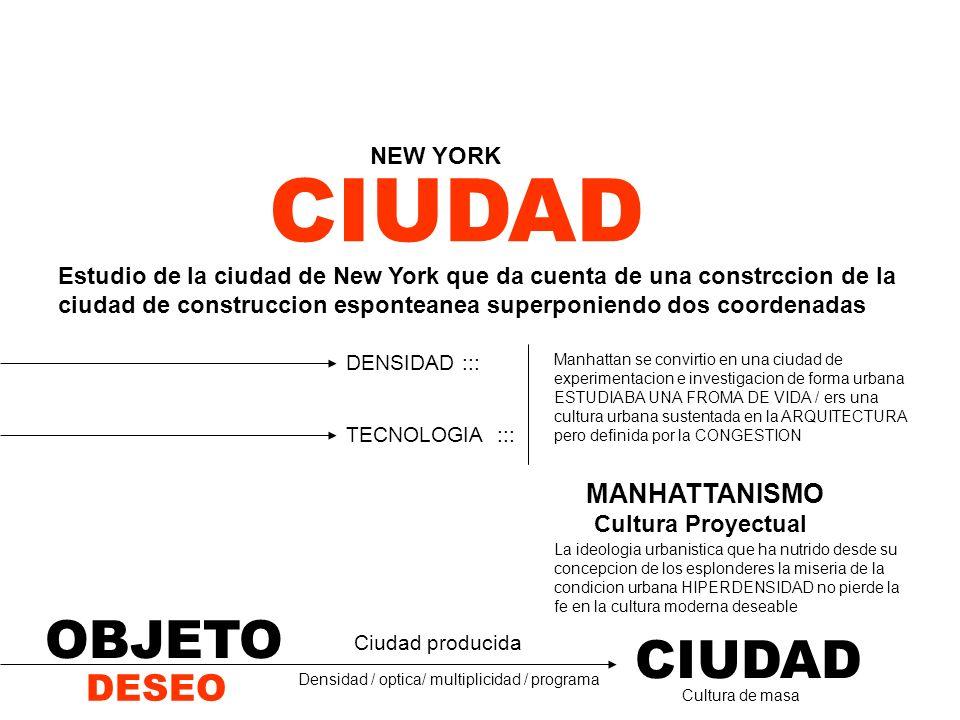 CIUDAD OBJETO CIUDAD DESEO MANHATTANISMO NEW YORK