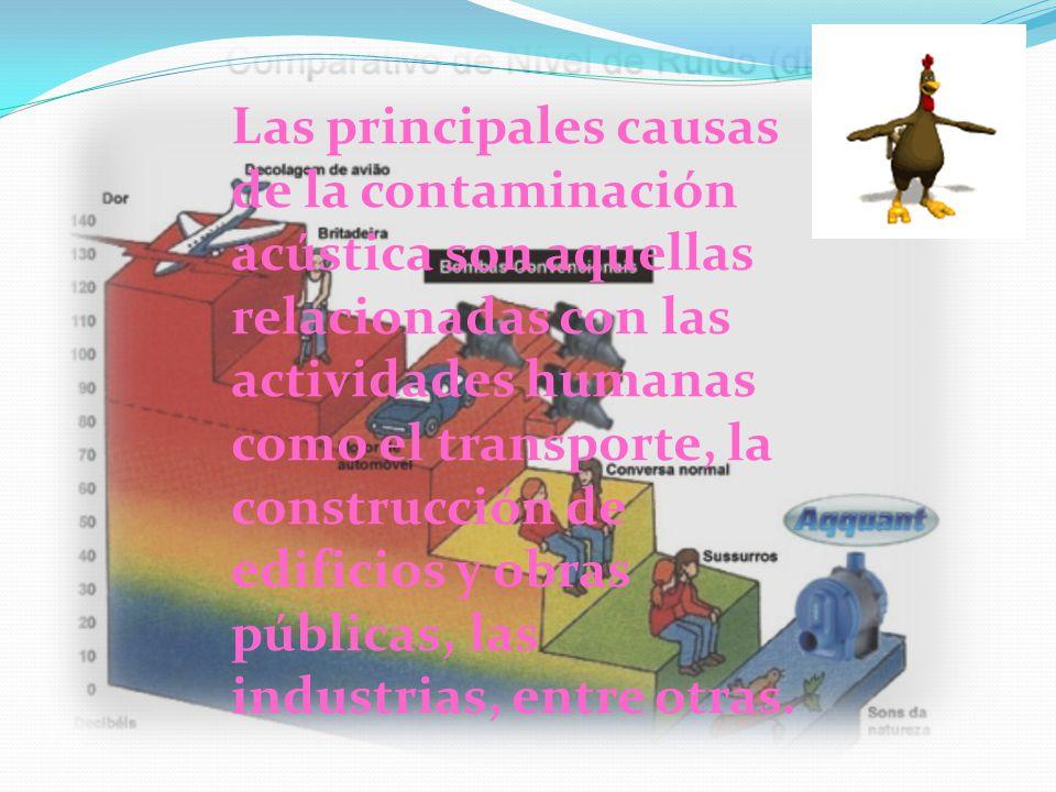 Las principales causas de la contaminación acústica son aquellas relacionadas con las actividades humanas como el transporte, la construcción de edificios y obras públicas, las industrias, entre otras.