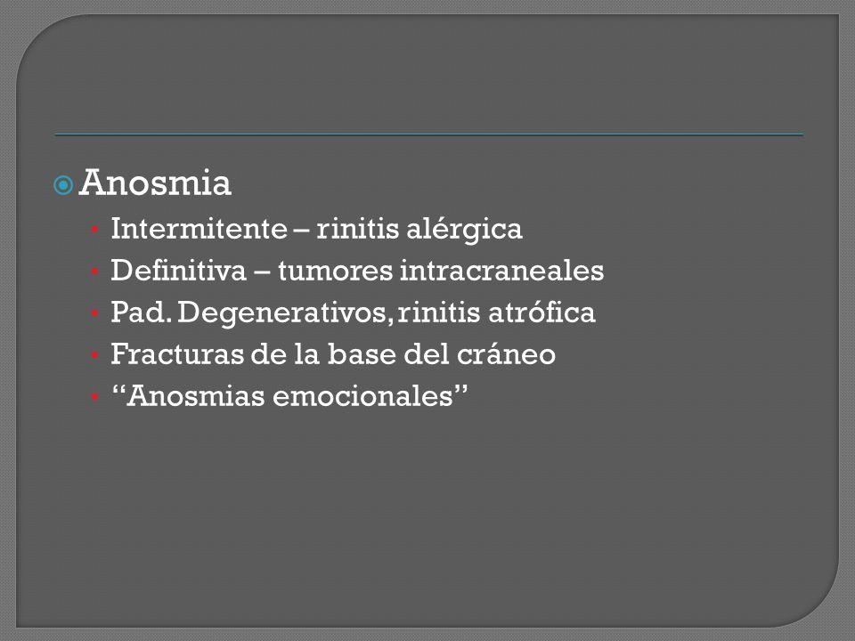 Anosmia Intermitente – rinitis alérgica