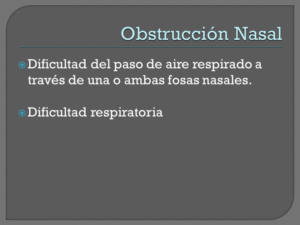 Obstrucción Nasal Dificultad del paso de aire respirado a través de una o ambas fosas nasales.