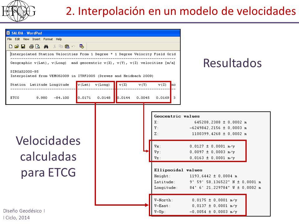Velocidades calculadas para ETCG