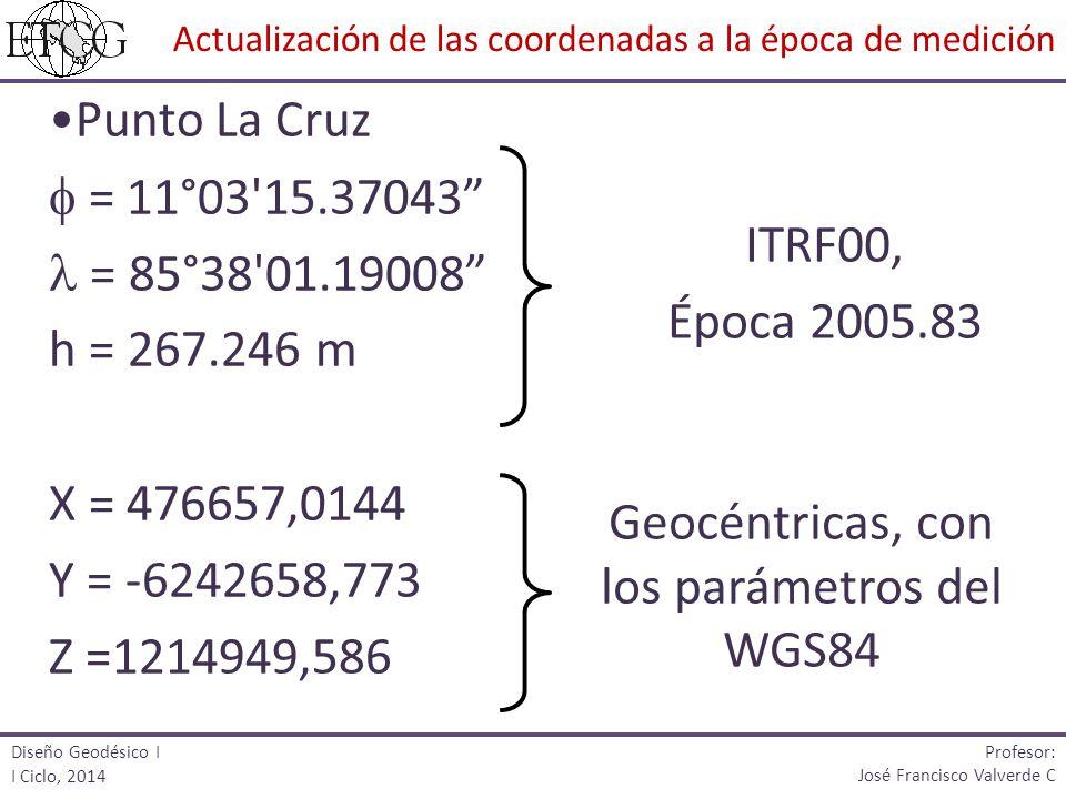Geocéntricas, con los parámetros del WGS84