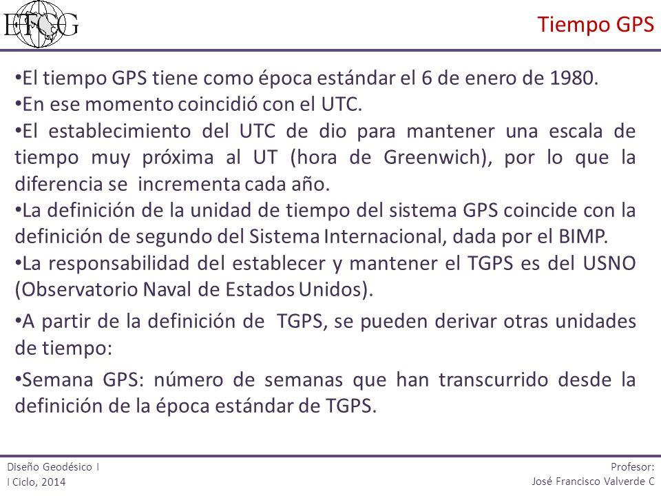 Tiempo GPS El tiempo GPS tiene como época estándar el 6 de enero de 1980. En ese momento coincidió con el UTC.