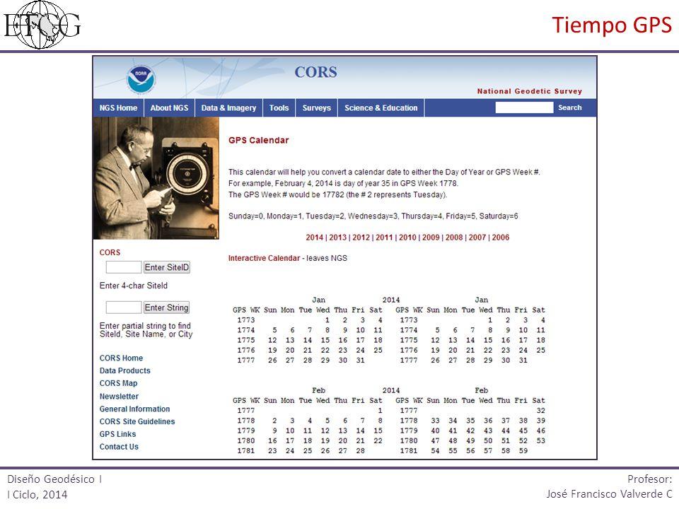 Tiempo GPS Profesor: Diseño Geodésico I I Ciclo, 2014