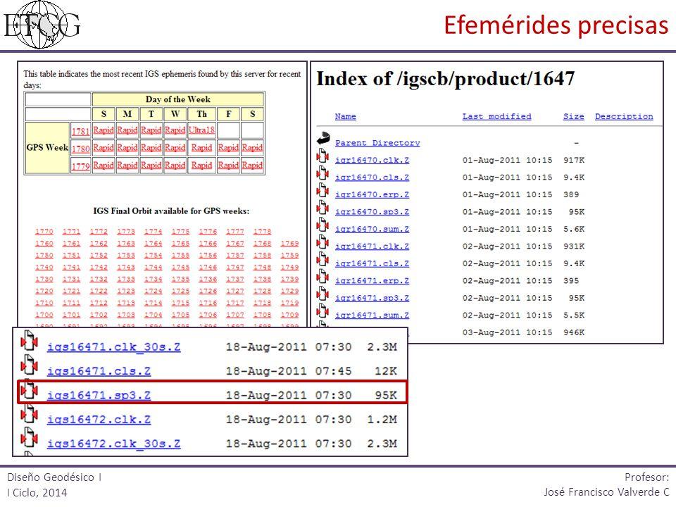 Efemérides precisas Profesor: Diseño Geodésico I I Ciclo, 2014