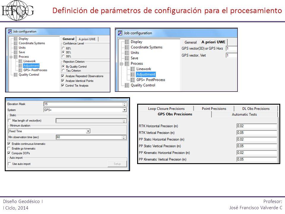Definición de parámetros de configuración para el procesamiento
