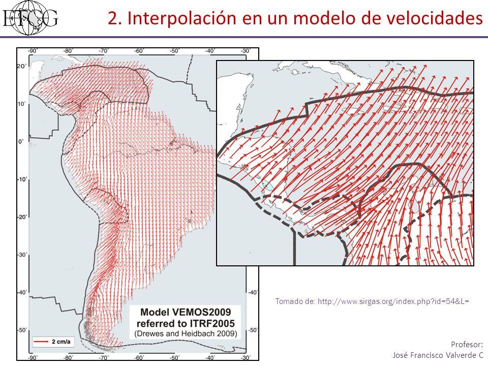 2. Interpolación en un modelo de velocidades