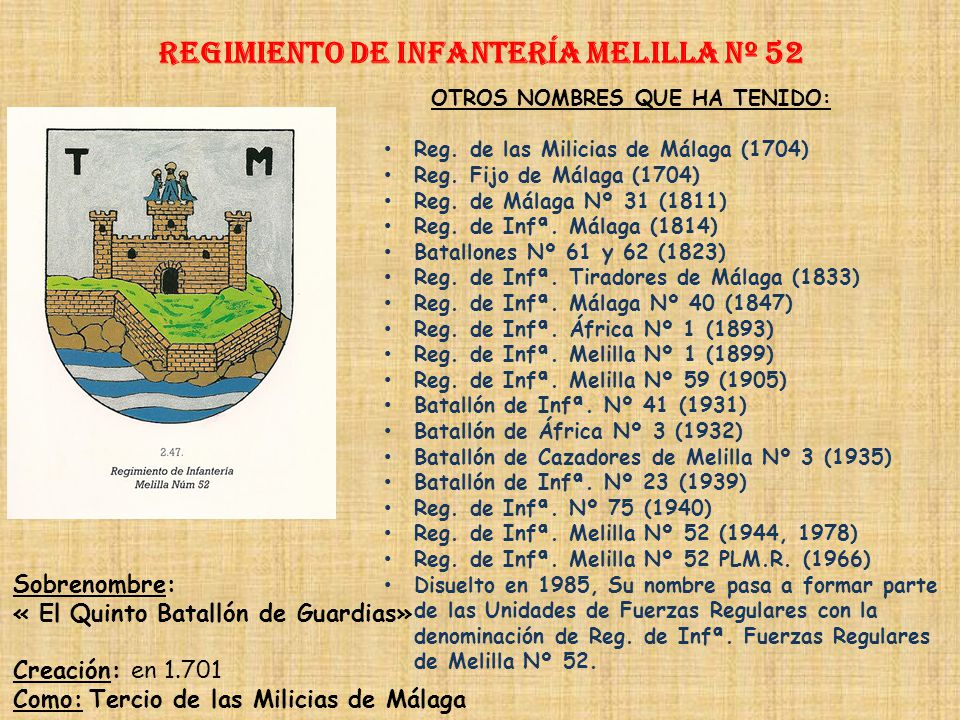 Regimiento de Infantería melilla nº 52