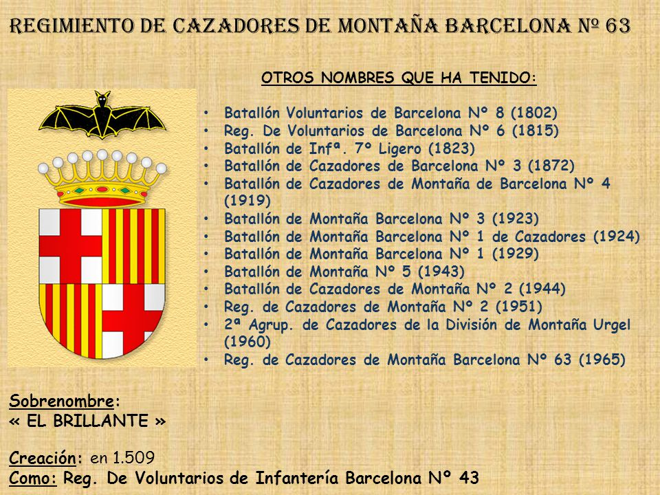 Regimiento de cazadores de montaña barcelona nº 63