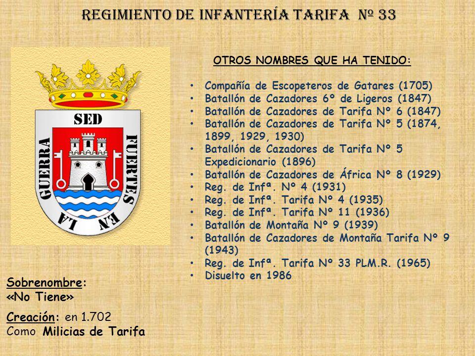 Regimiento de Infantería tarifa nº 33
