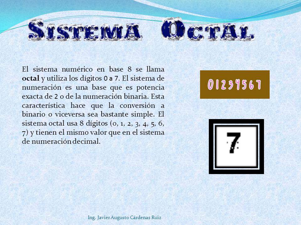 El sistema numérico en base 8 se llama octal y utiliza los dígitos 0 a 7. El sistema de numeración es una base que es potencia exacta de 2 o de la numeración binaria. Esta característica hace que la conversión a binario o viceversa sea bastante simple. El sistema octal usa 8 dígitos (0, 1, 2, 3, 4, 5, 6, 7) y tienen el mismo valor que en el sistema de numeración decimal.
