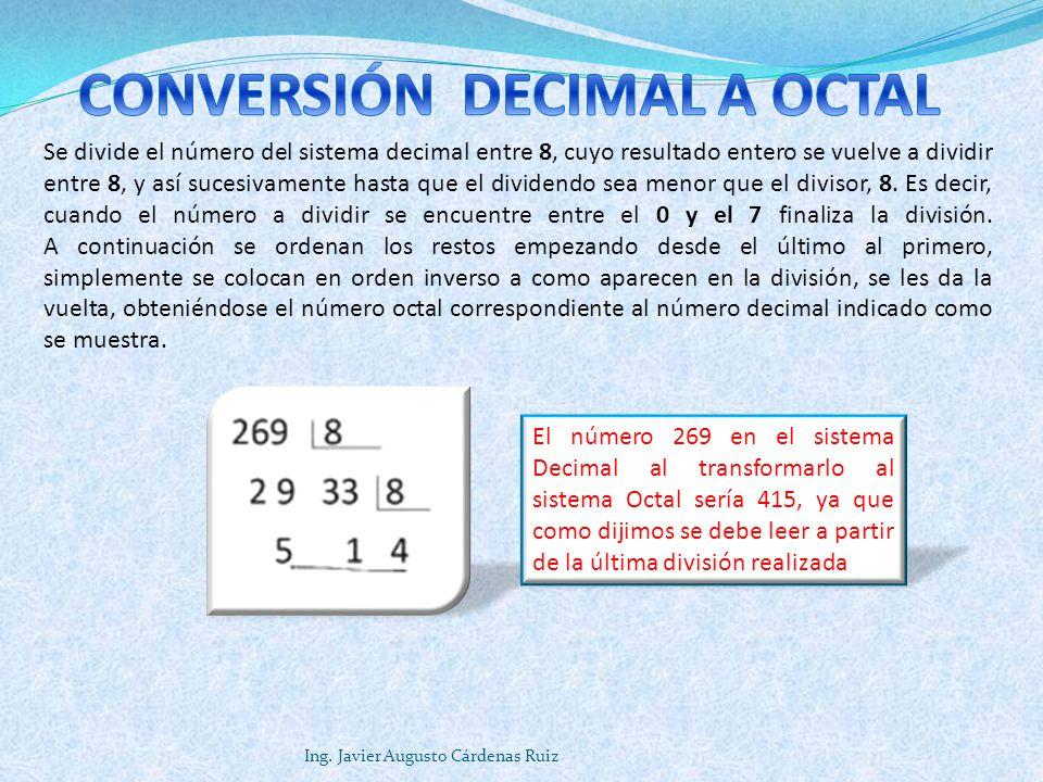 CONVERSIÓN DECIMAL A OCTAL