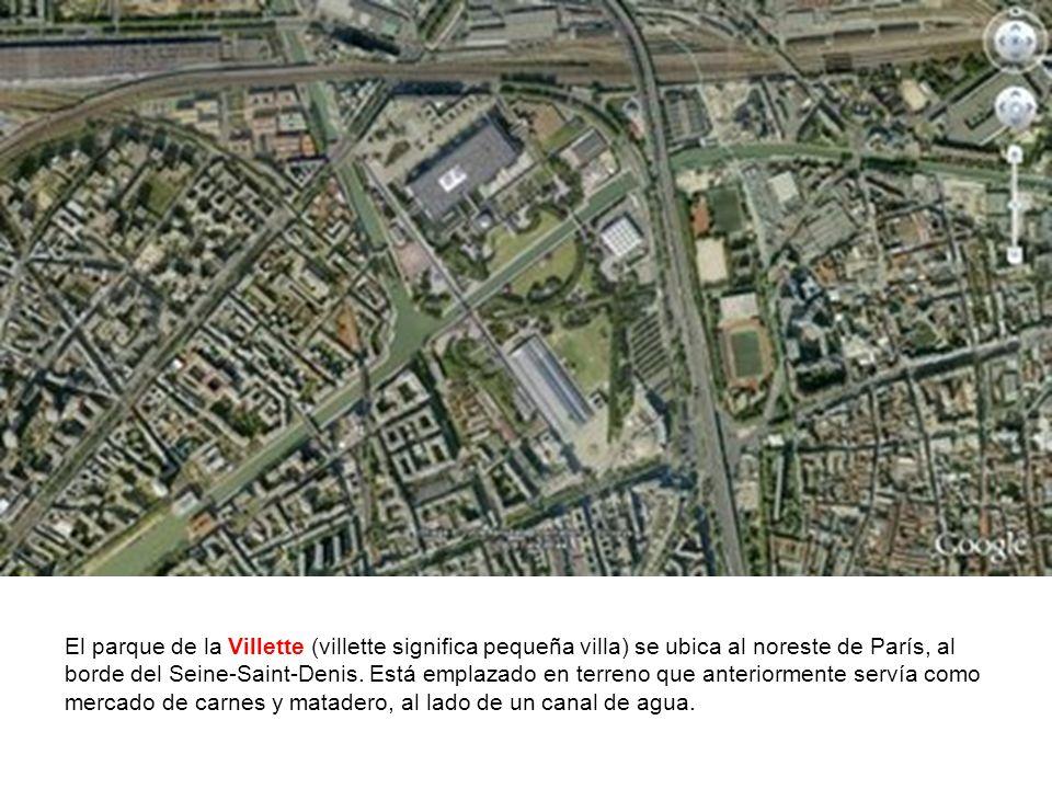 El parque de la Villette (villette significa pequeña villa) se ubica al noreste de París, al borde del Seine-Saint-Denis.