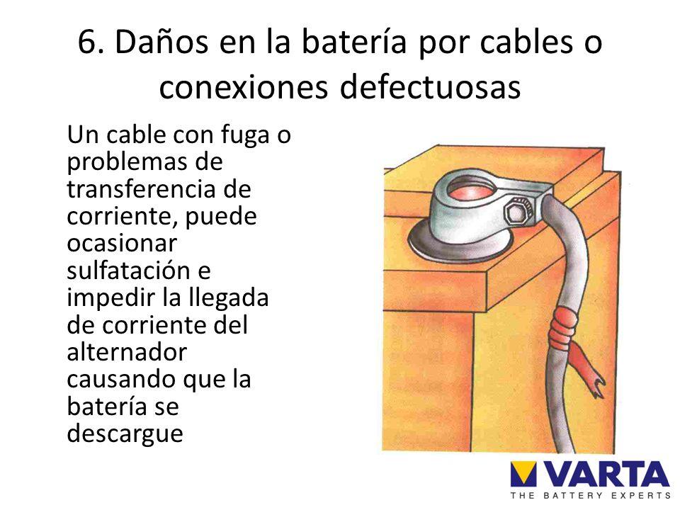 6. Daños en la batería por cables o conexiones defectuosas