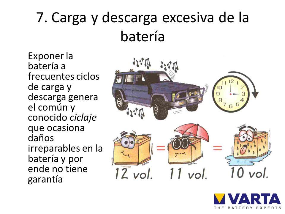 7. Carga y descarga excesiva de la batería