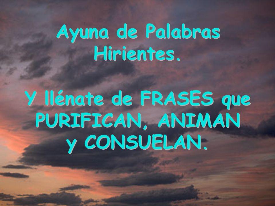 Ayuna de Palabras Hirientes. PURIFICAN, ANIMAN y CONSUELAN.