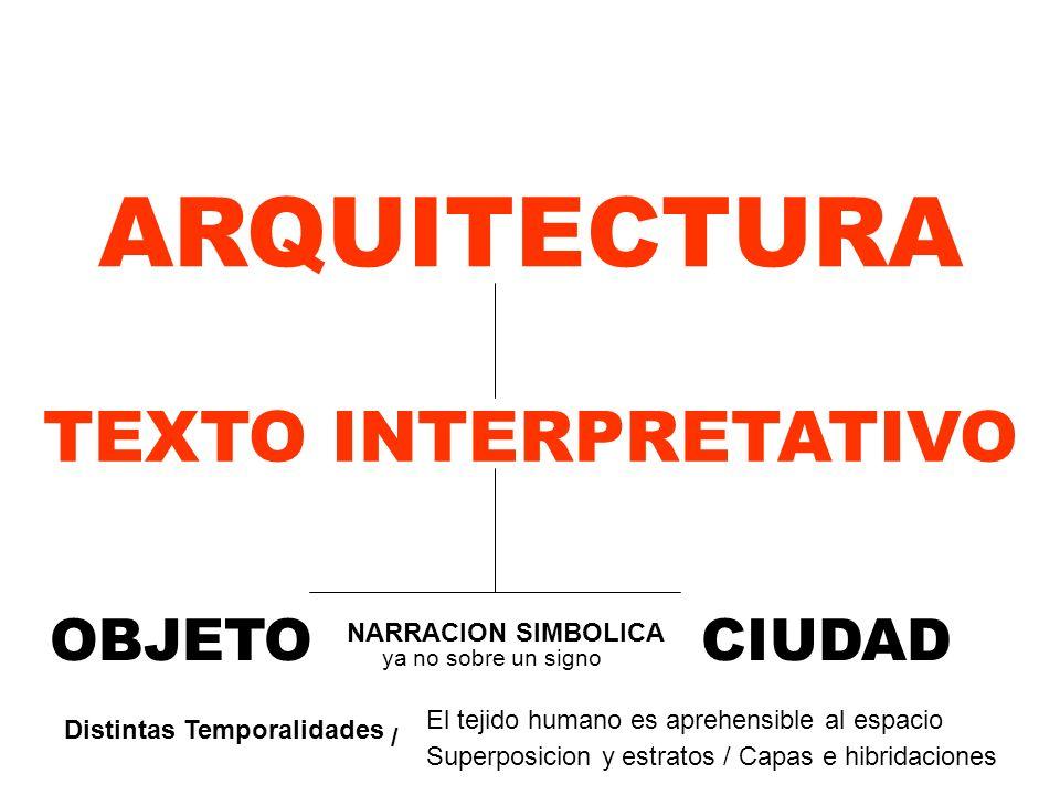 ARQUITECTURA TEXTO INTERPRETATIVO OBJETO CIUDAD NARRACION SIMBOLICA