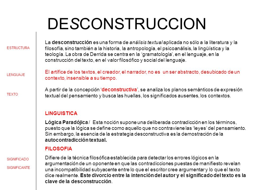 DESCONSTRUCCION