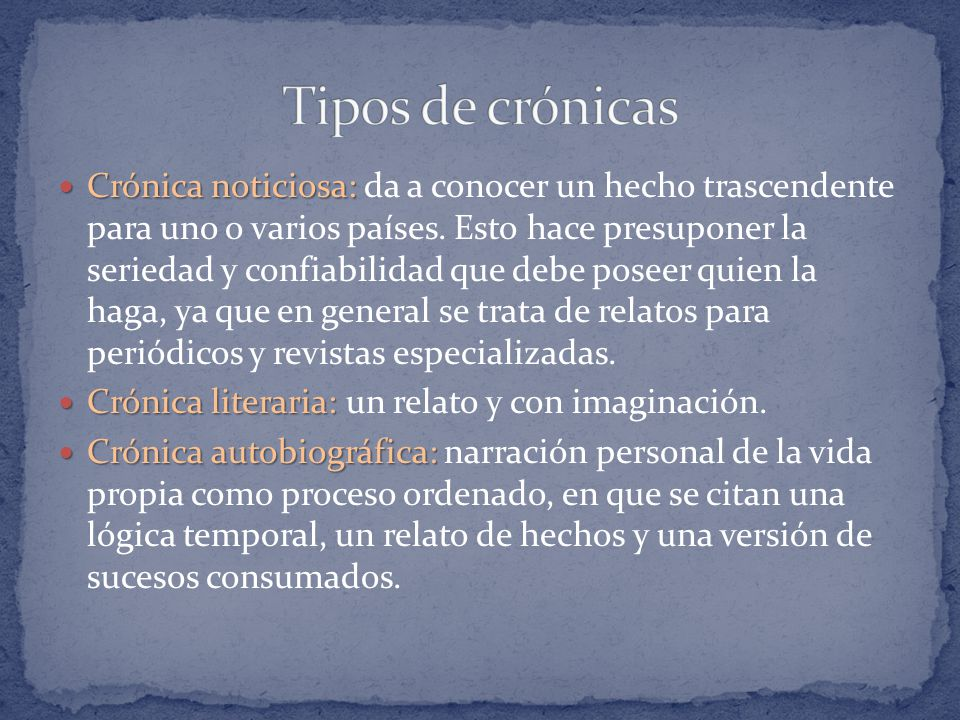Tipos de crónicas