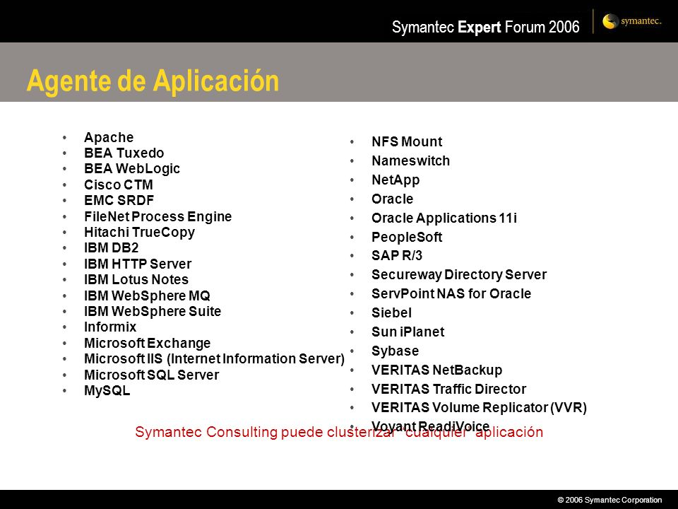 Symantec Consulting puede clusterizar cualquier aplicación