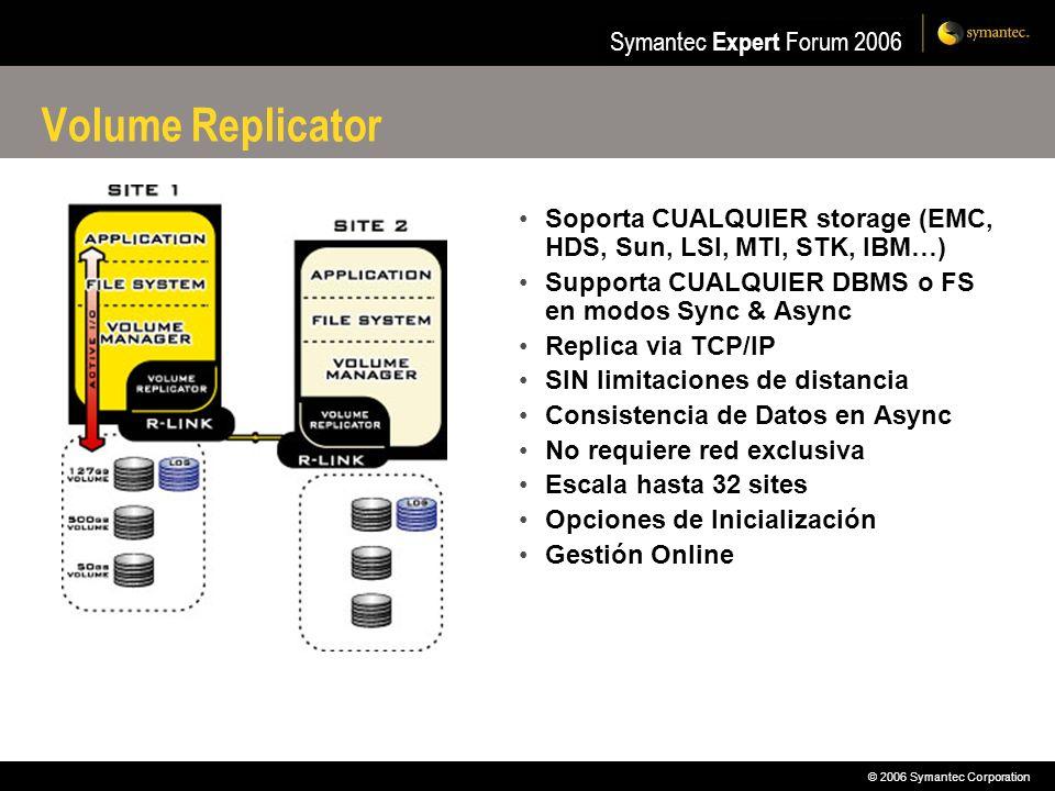 Volume Replicator Soporta CUALQUIER storage (EMC, HDS, Sun, LSI, MTI, STK, IBM…) Supporta CUALQUIER DBMS o FS en modos Sync & Async.