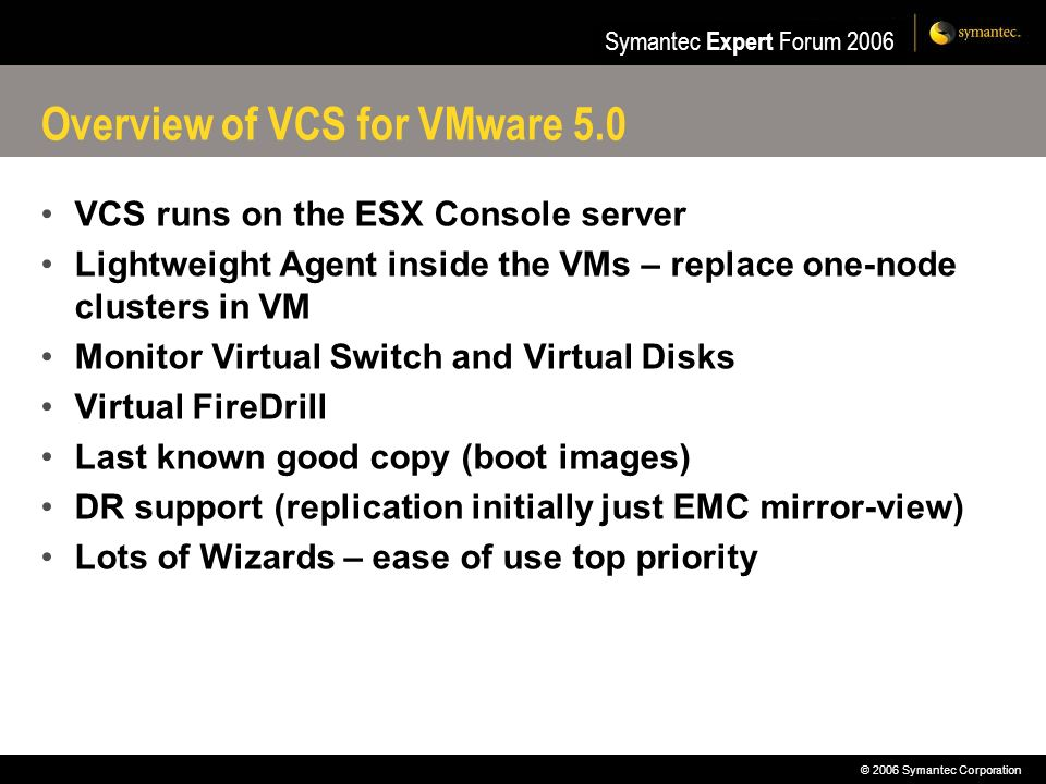 Overview of VCS for VMware 5.0