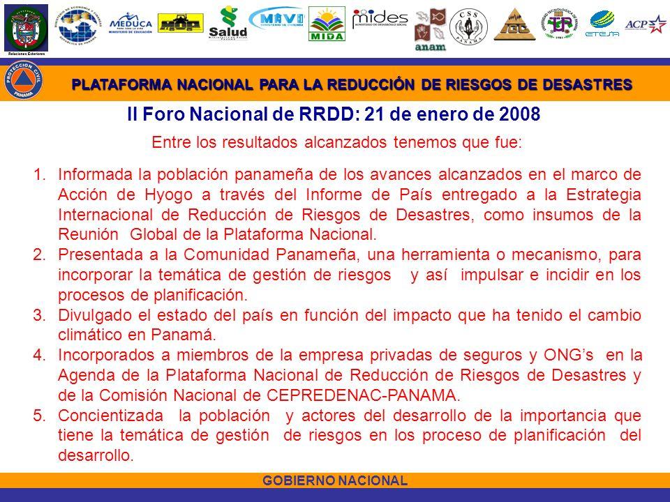 II Foro Nacional de RRDD: 21 de enero de 2008