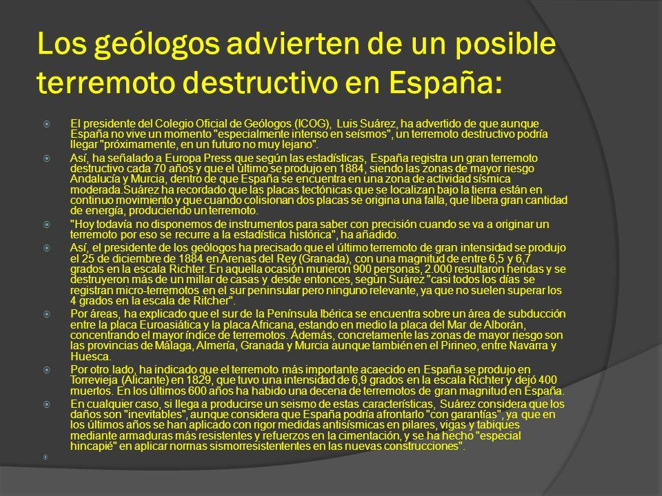 Los geólogos advierten de un posible terremoto destructivo en España: