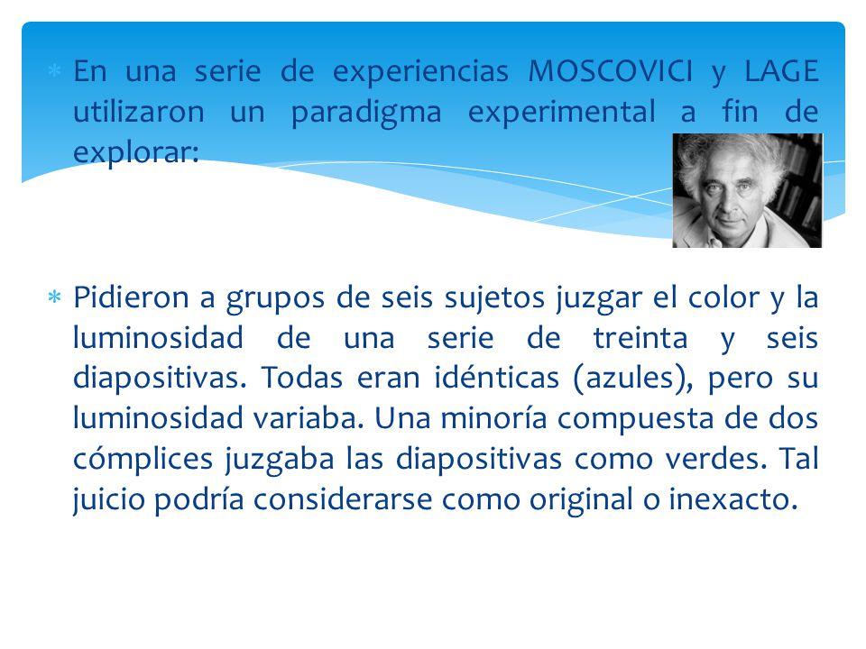 En una serie de experiencias MOSCOVICI y LAGE utilizaron un paradigma experimental a fin de explorar: