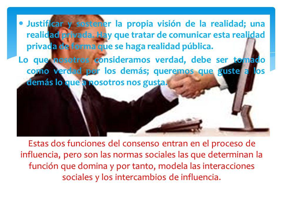 Justificar y sostener la propia visión de la realidad; una realidad privada. Hay que tratar de comunicar esta realidad privada de forma que se haga realidad pública.