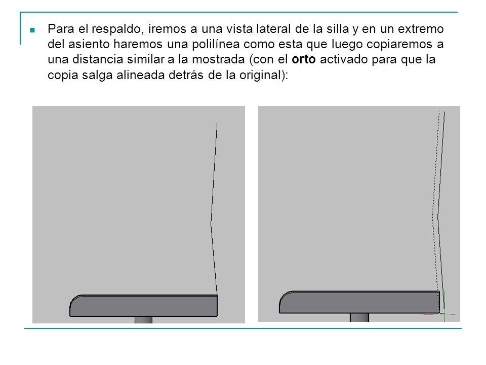 Para el respaldo, iremos a una vista lateral de la silla y en un extremo del asiento haremos una polilínea como esta que luego copiaremos a una distancia similar a la mostrada (con el orto activado para que la copia salga alineada detrás de la original):
