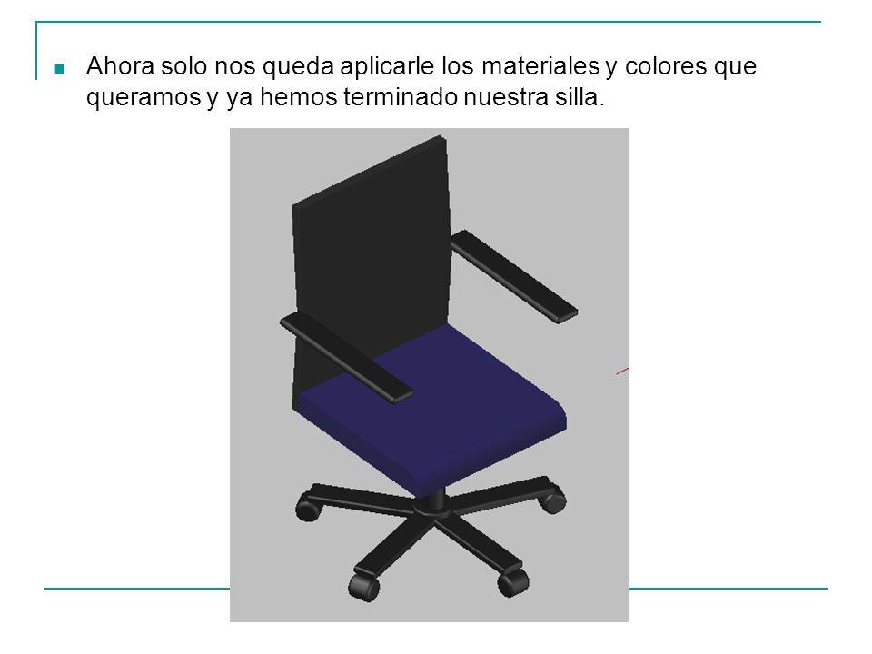Ahora solo nos queda aplicarle los materiales y colores que queramos y ya hemos terminado nuestra silla.