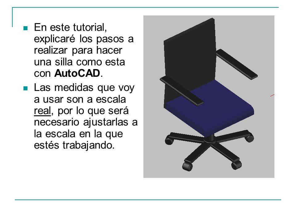 En este tutorial, explicaré los pasos a realizar para hacer una silla como esta con AutoCAD.