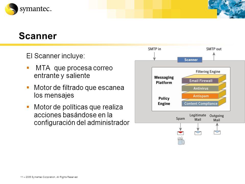 Scanner El Scanner incluye: MTA que procesa correo entrante y saliente