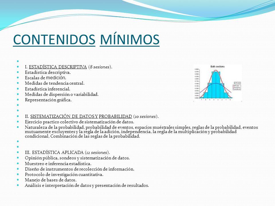 CONTENIDOS MÍNIMOS I. ESTADÍSTICA DESCRIPTIVA (8 sesiones).