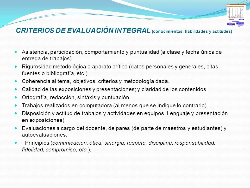 CRITERIOS DE EVALUACIÓN INTEGRAL (conocimientos, habilidades y actitudes)